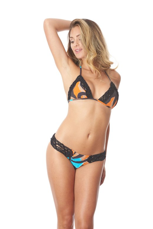 TRIANGLE BIKINI EDGES MACRAME' PRINTED