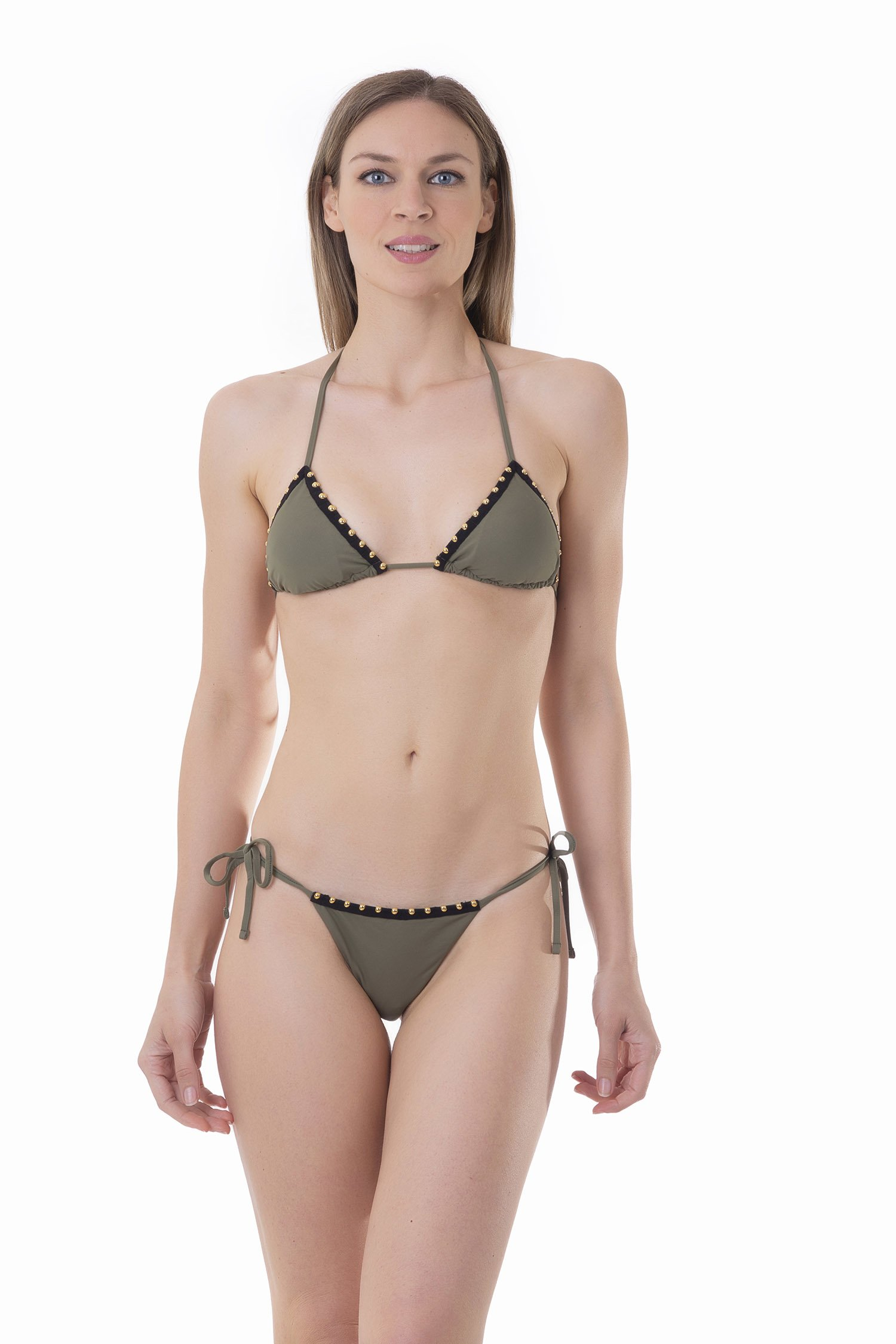 BIKINI TRIMMINGS GOLDEN DETAILS SOLID COLOR - Oliva