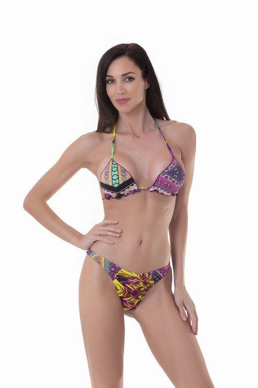 TRIANGLE BIKINI  MIX STAMPS CUT HIGH SLIP