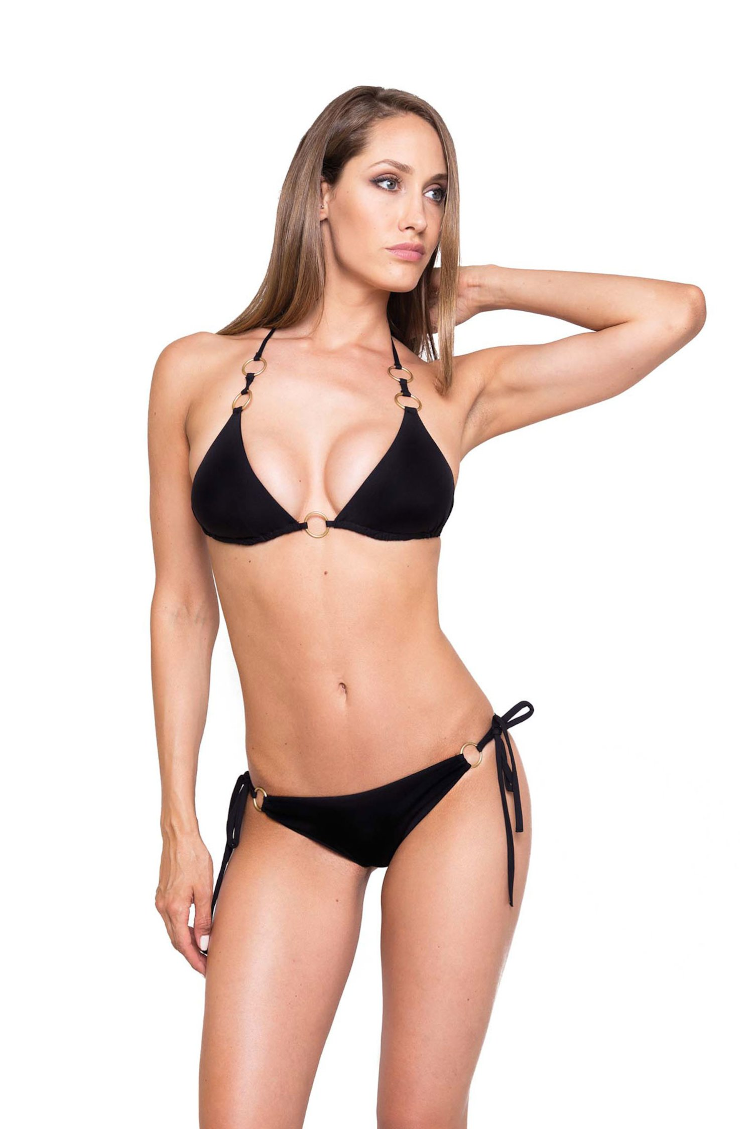 TRIANGLE BIKINI RING SLIP VICHY - Black