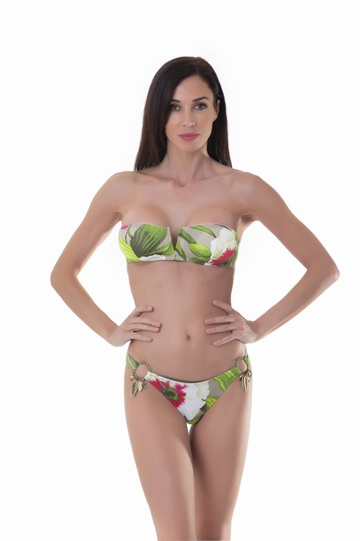 BANDEAU BIKINI LEAVES RINGS PRINTED