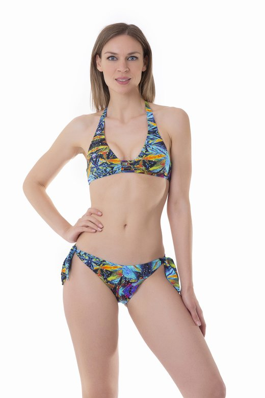 BIKINI HALTER STRINGS STRASS PRINTED