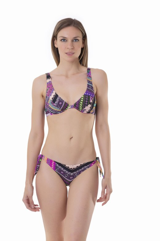 BIKINI HALTER DIFFERENTIATED CUP SLIP BRASILIAN PRINTED