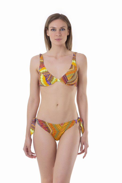 BIKINI HALTER DIFFERENTIATED CUP SLIP AMERICA PRINTED