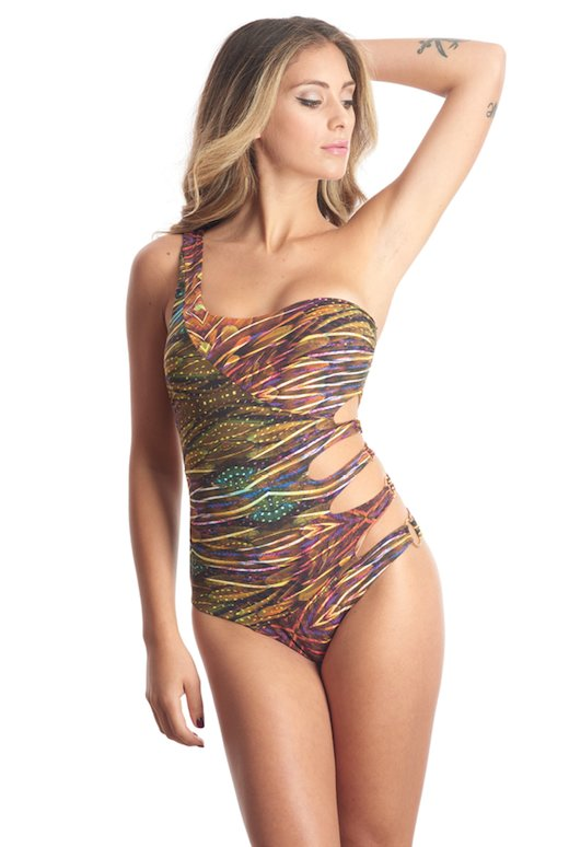 ONE SHOULDER ONEPIECE PRINTED