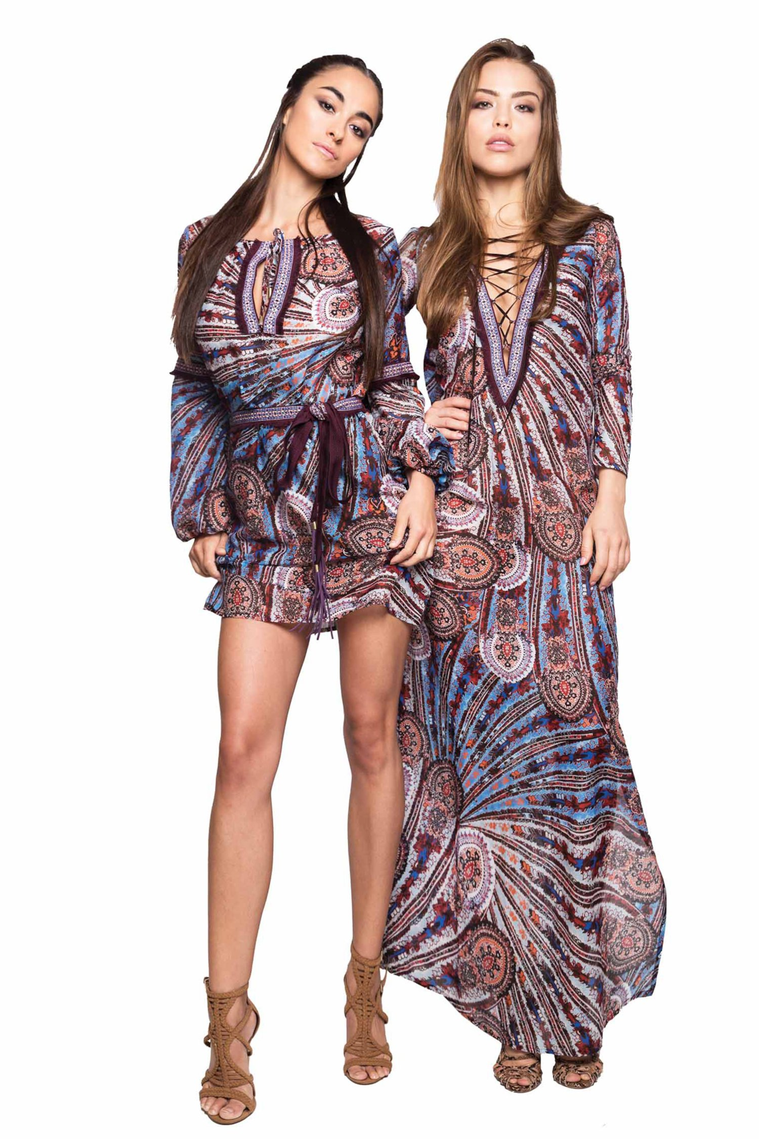 LONG KAFTAN STRINGED NECK EMBROIDERY THREAD AND CASHMERE - Cachemire Celeste