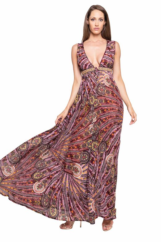 LONG DRESS EMPIRE EMBROIDERY THREAD