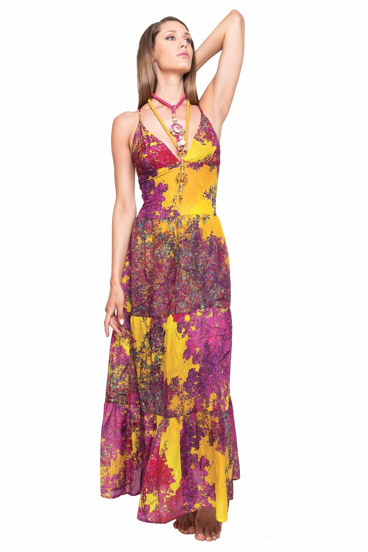 LONG DRESS FRILLS - Albero Giallo