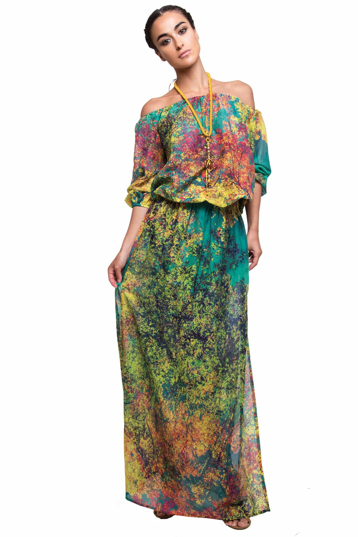 LONG DRESS WITH SLEEVES - Albero Petrolio