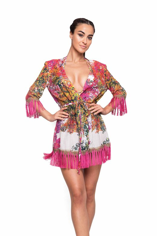 SHORT DRESS GOWN WITH FRINGES
