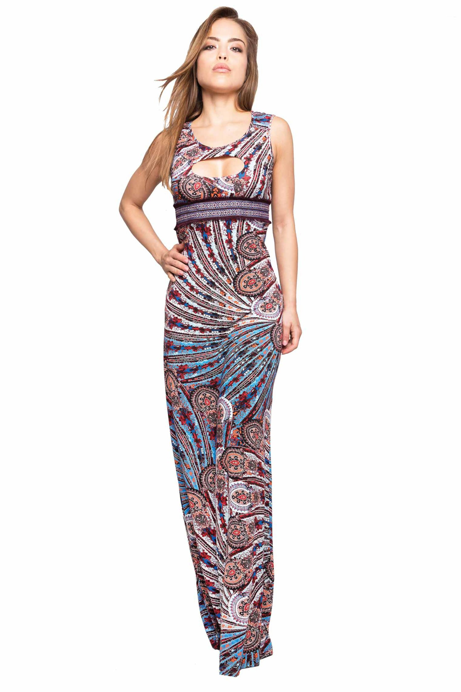 LONG DRESS EMBROIDERY THREAD AND CASHMERE - Cachemire Celeste