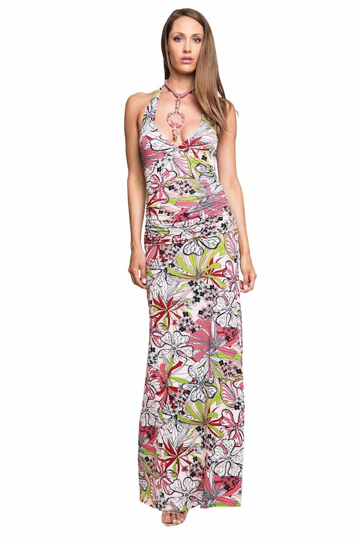 DRAPED BUST LONG DRESS - Fiori Rosa