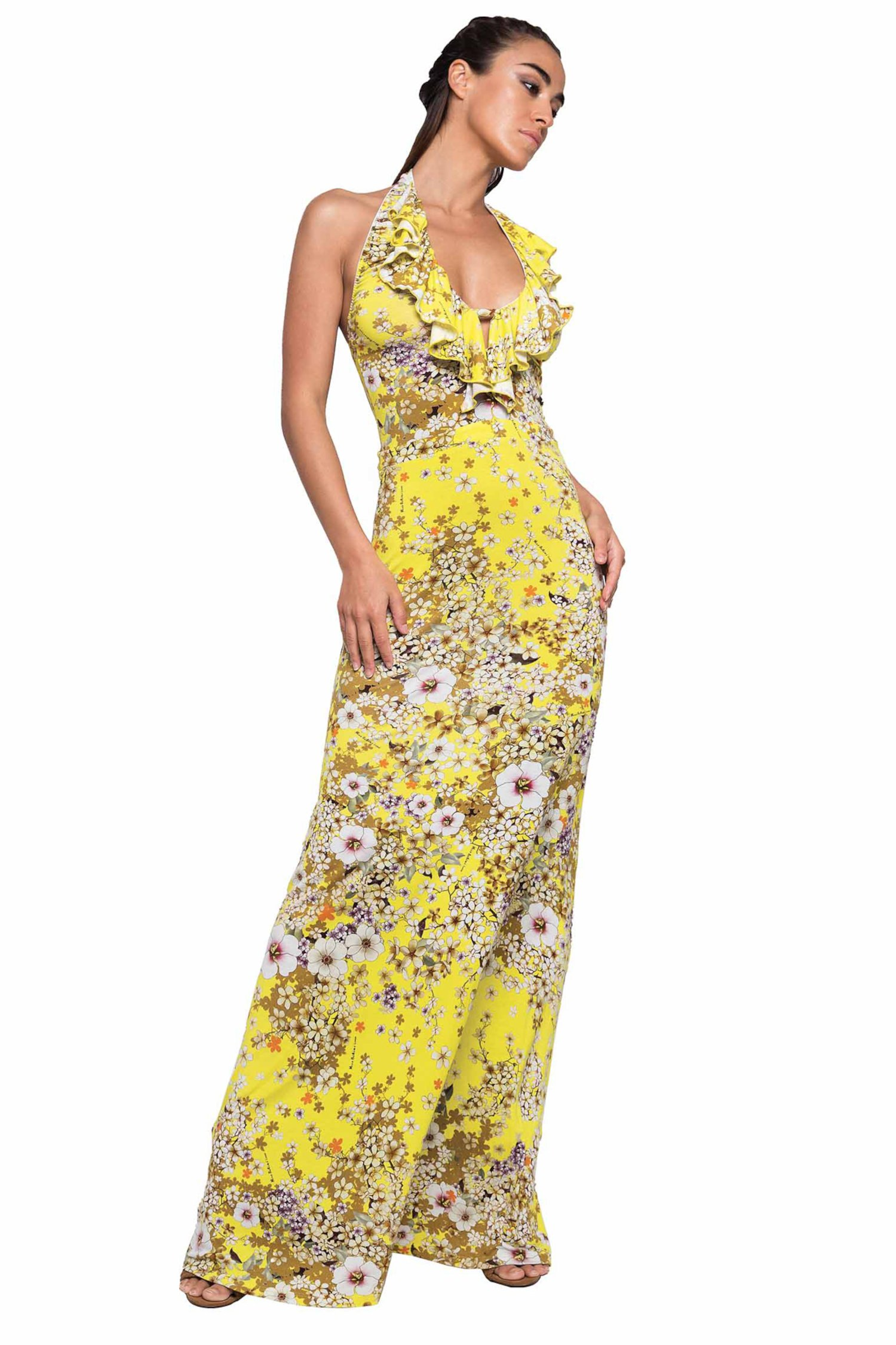 LONG DRESS HALTER WITH VOLANT - Primavera Giallo