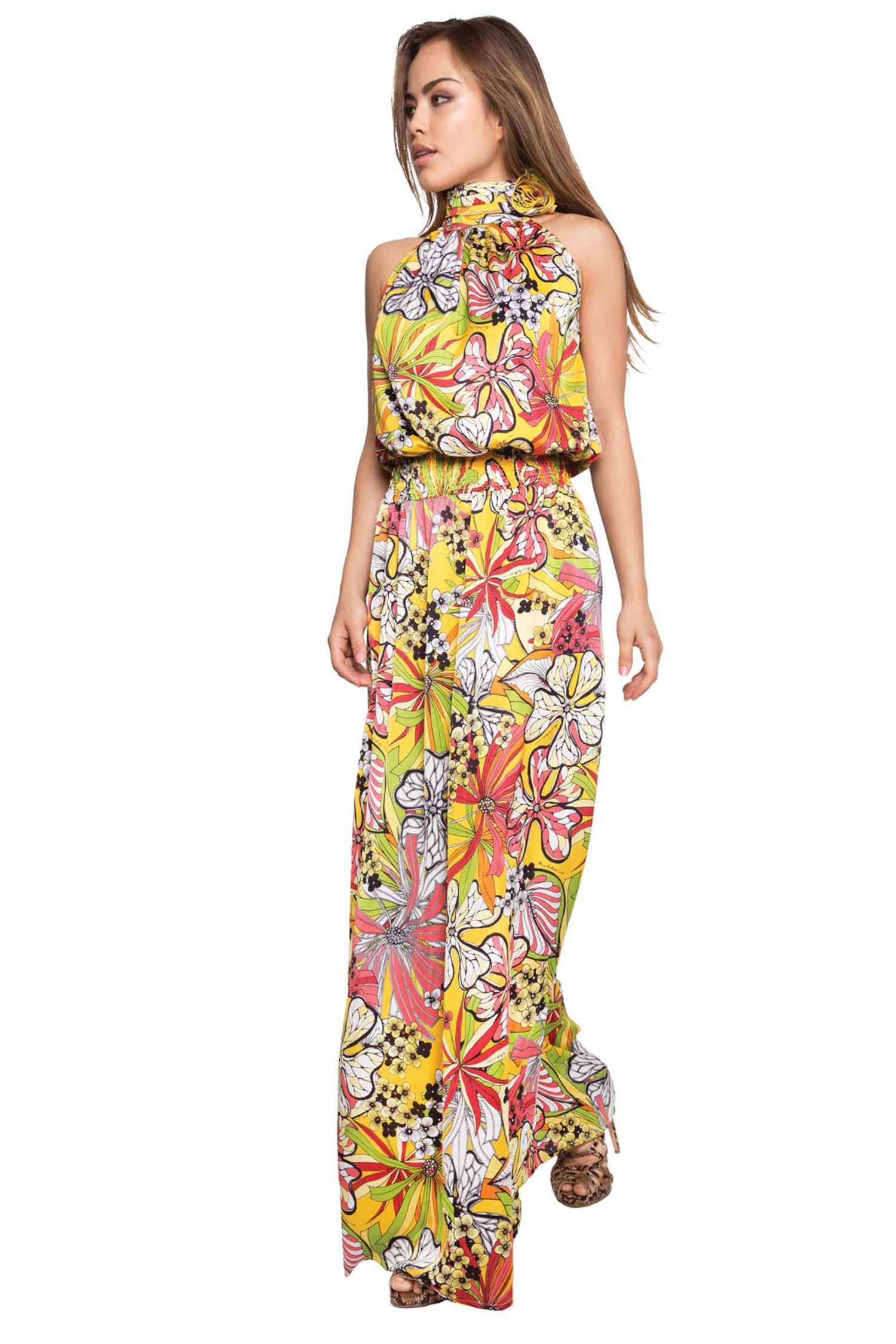 LONG DRESS FLOWER - Fiori Giallo