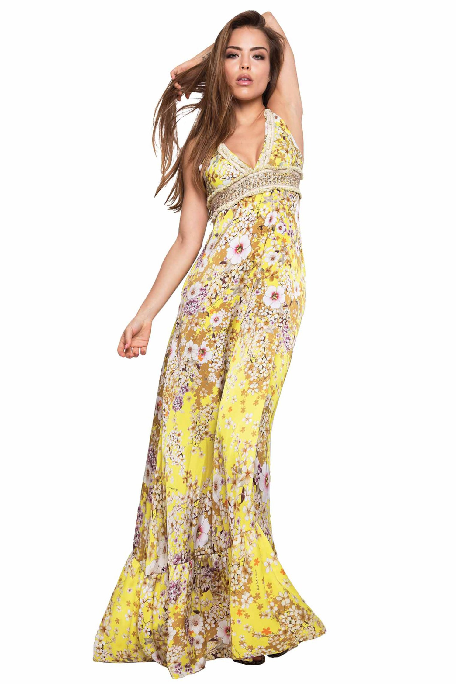 LONG DRESS CUPS WITH EMBROIDERY THREAD SPRING - Primavera Giallo