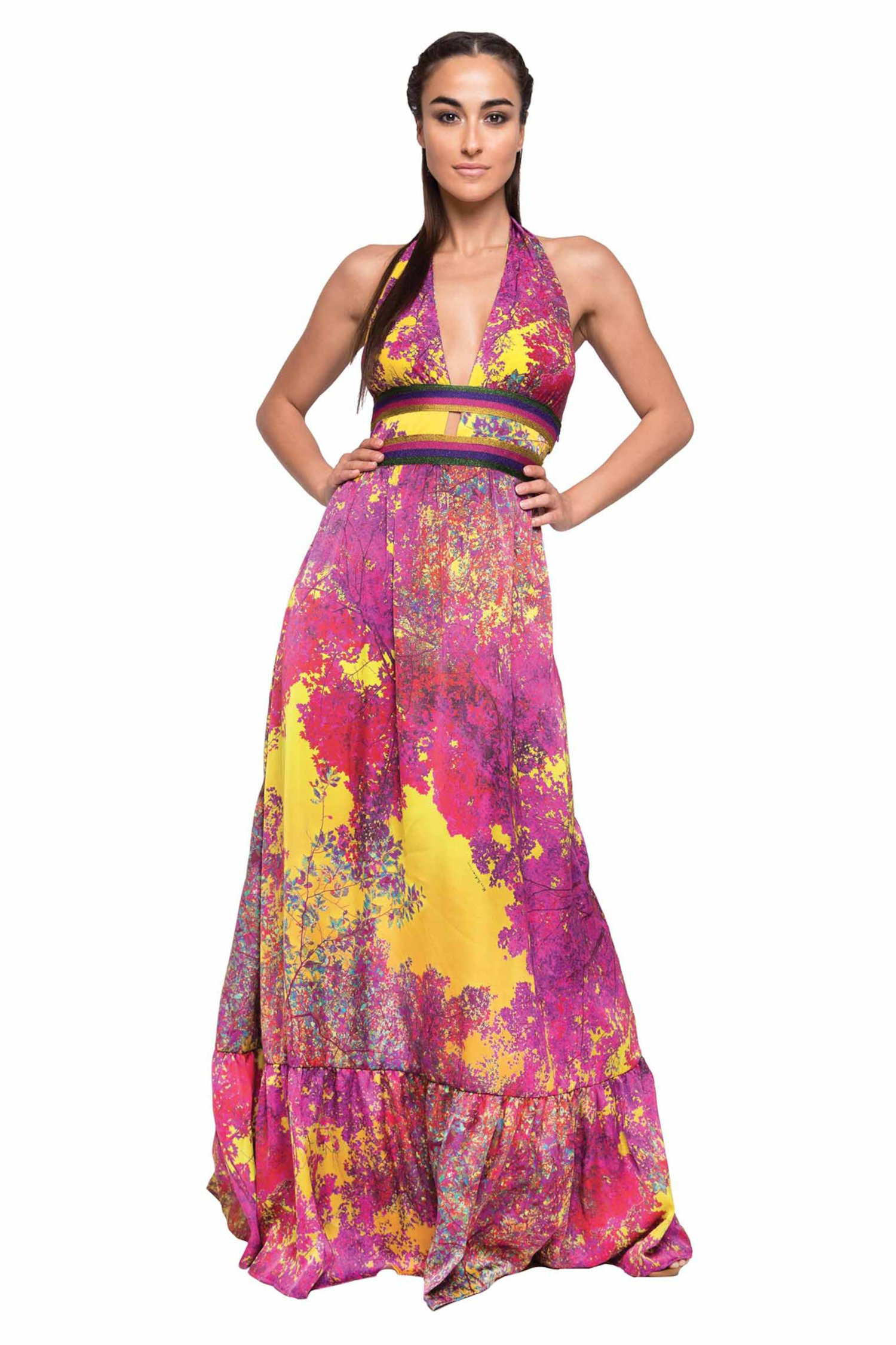 LONG DRESS HALTER COPS WITH TREES