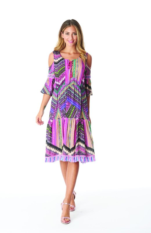 FRINGES KAFTAN MULTICOLOR - Pink