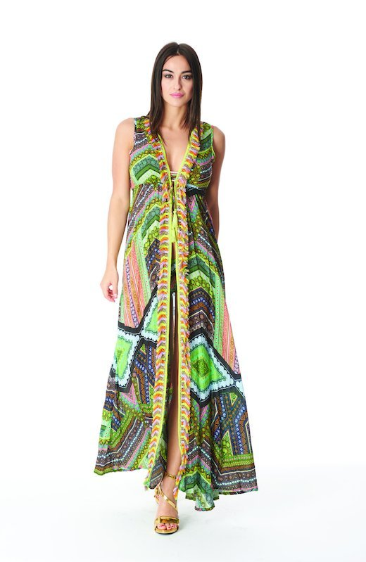 LONG DRESS WITH MULTICOLORED FRINGES - Thyme