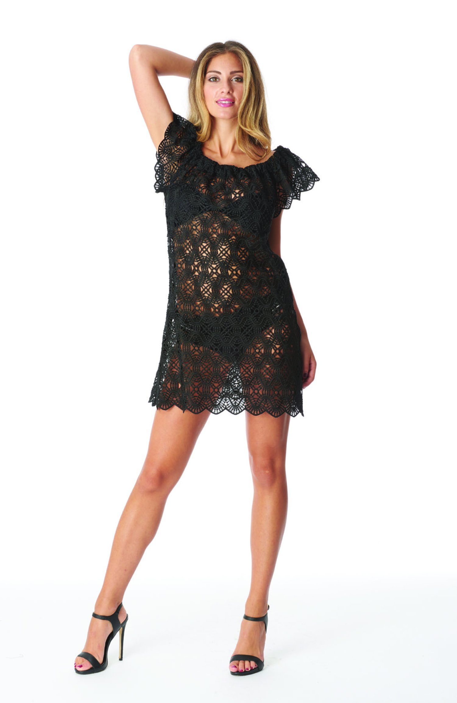 SHORT DRESS TRAPEZE - Pizzo Nero