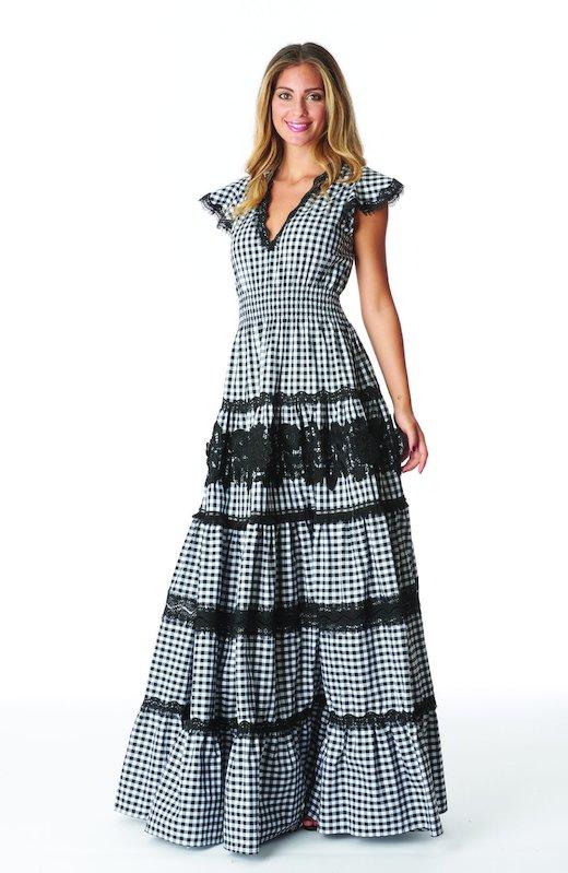 LONG DRESS FLOUNCES VICHY