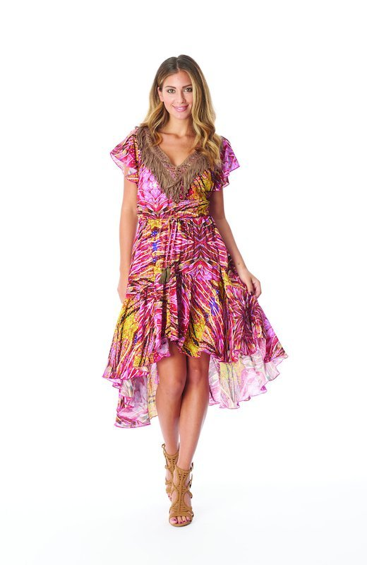 ASYMMETRIC DRESS LONGUETTE WITH TRIMMINGS - Plumage Pink