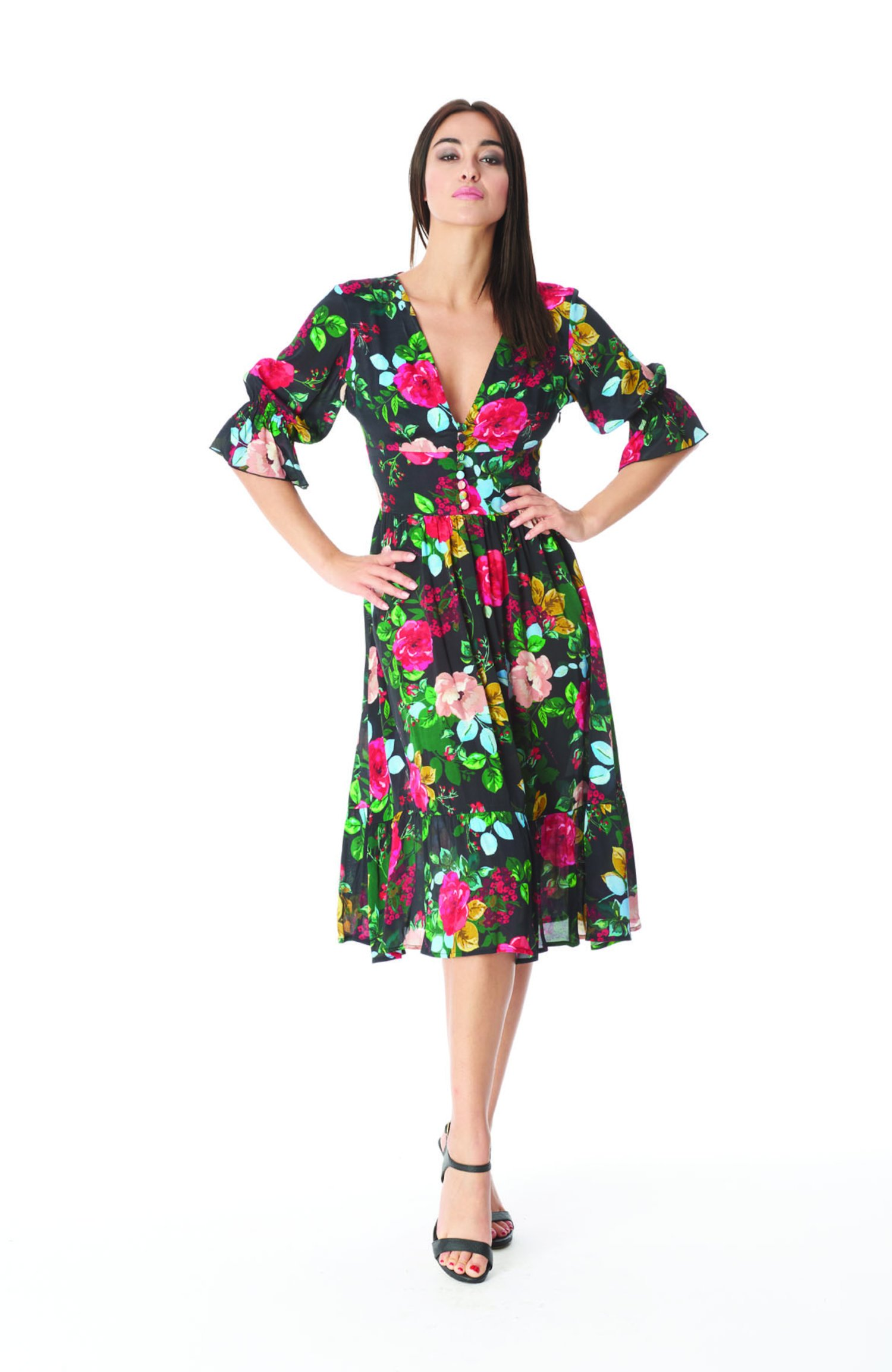 LONGUETTE DRESS WITH LAMBS - Rose Black