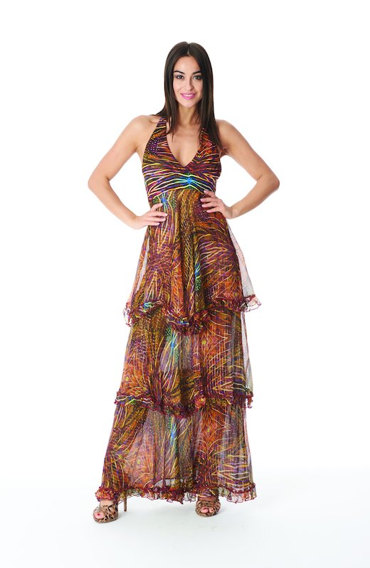 LONG DRESS SILK LUREX - Plumage Ambra