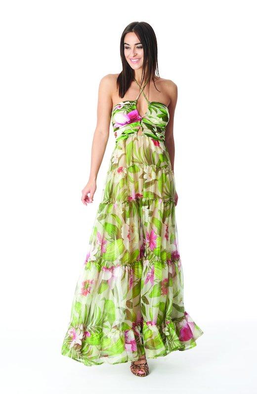 SILKY LONG DRESS CORROSIDE CROSS - Tropical Flowers Beige