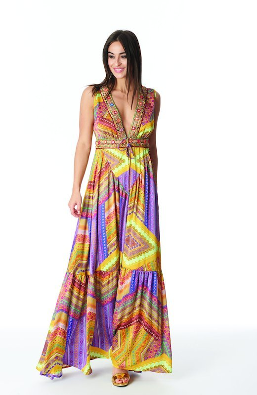 SATIN LONG DRESS WITH TRIMMING