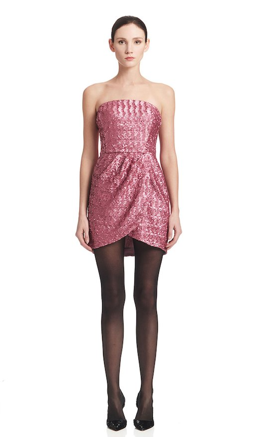 SHORT DRESS PINK SEQUINS - Glicine