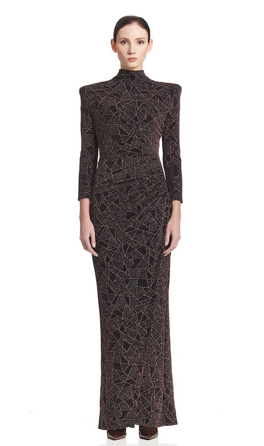 LONG DRAPEDDRESS JERSEY LUREX TATOO - Black / Gold / Gree