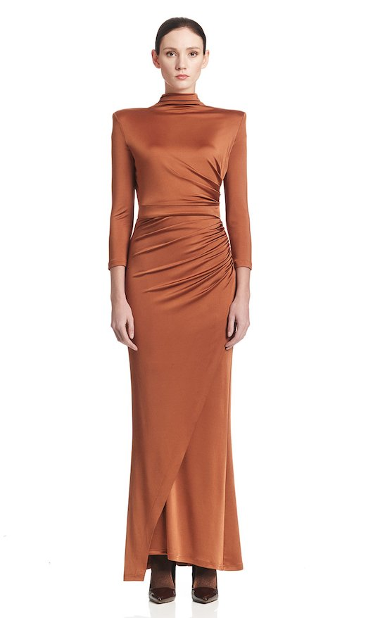 LONG DRAPED DRESS JERSEY VISCOSE
