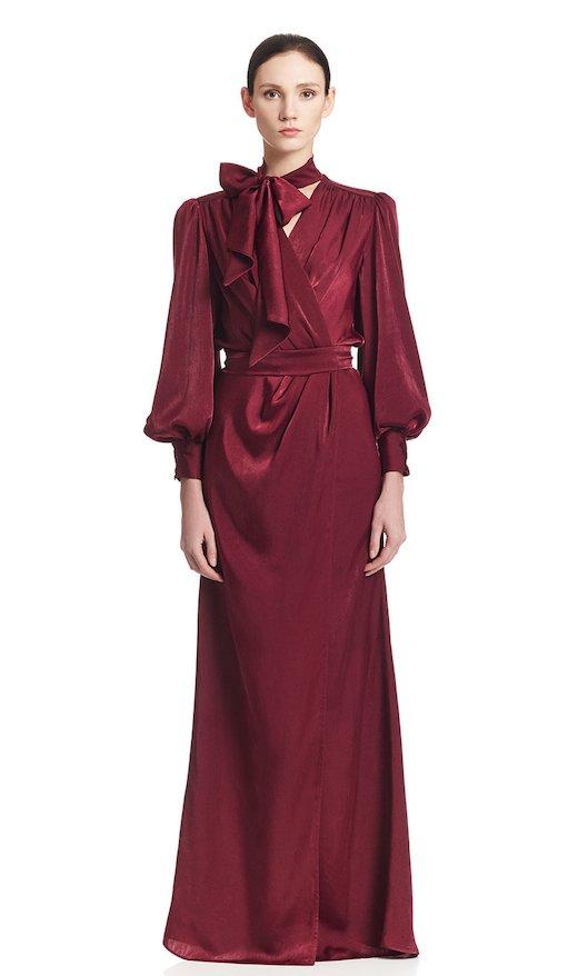 LONG DRESS WITH SPLIT SILK SATIN - Bordeaux