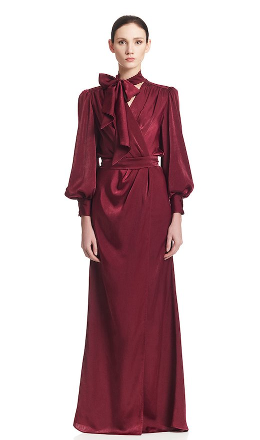 LONG DRESS WITH SPLIT SILK SATIN - Bordeaux