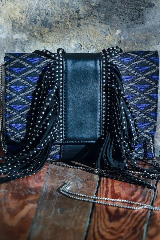 PRINTED FRINGES BAG - Bluette