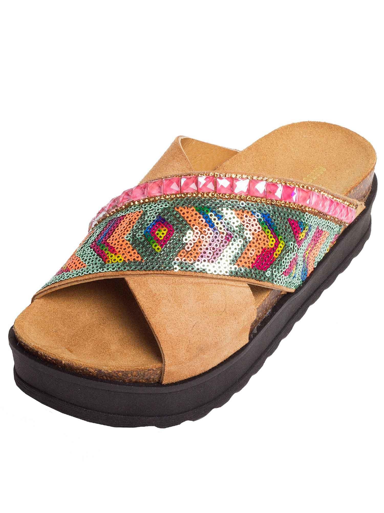 sandalo incrocio paillettes e pietre - Cuoio