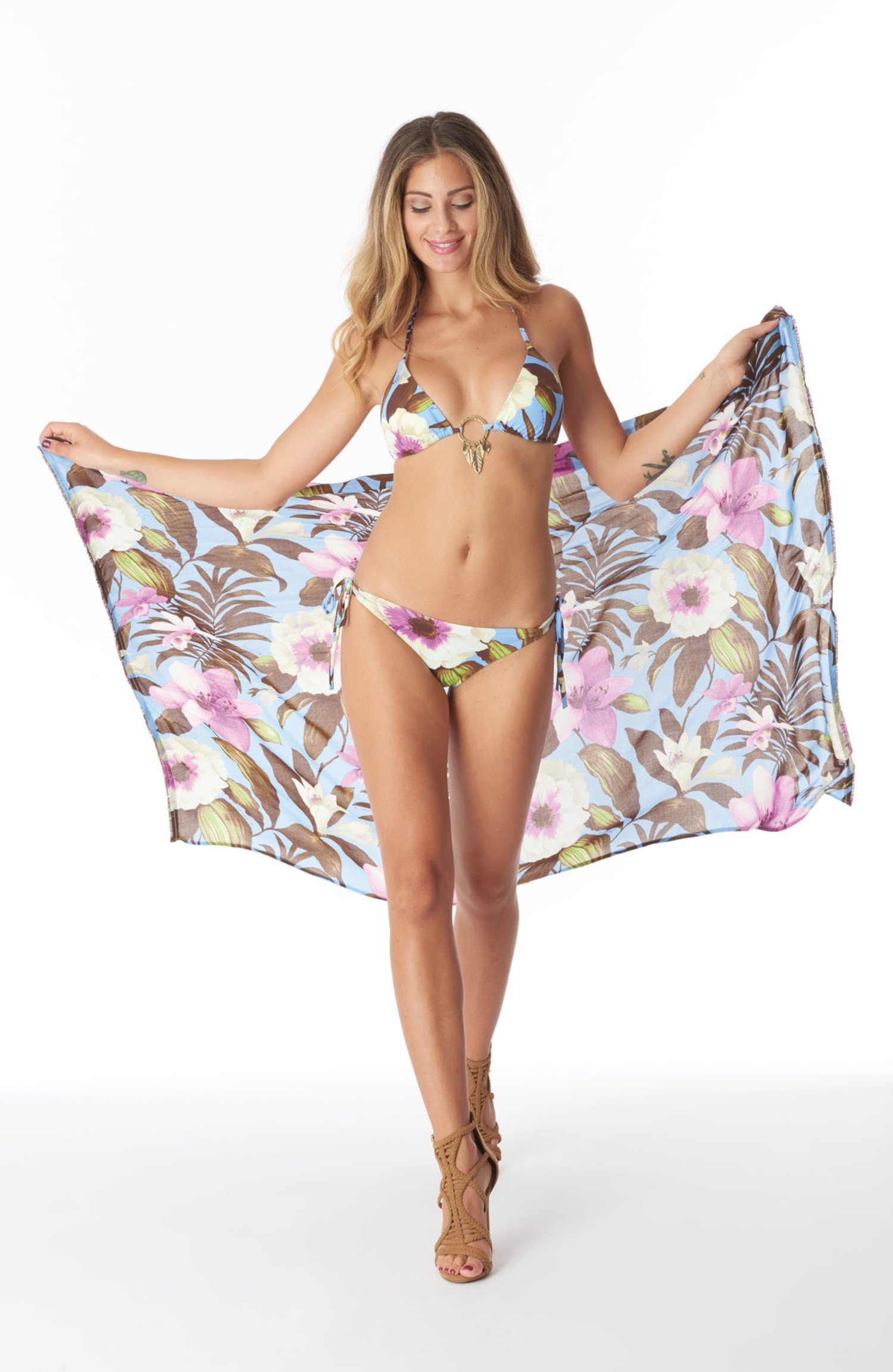 SARONG - Tropical Flowers Periwinkle