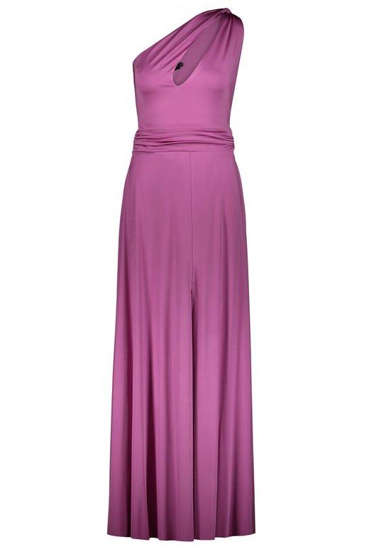 ONE SHOULDER JERSEY LONG DRESS - Rosa
