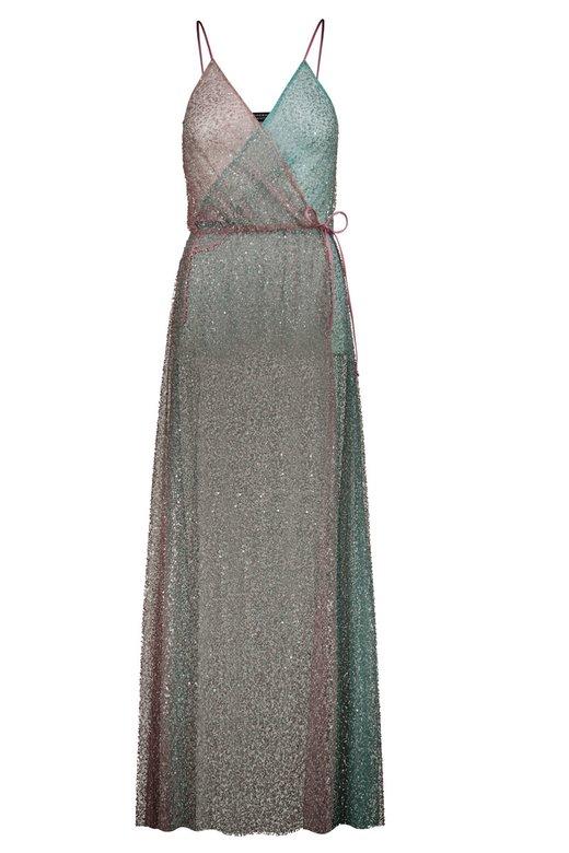 BEADED BICOLOR WRAP DRESS - Rosa Var.29