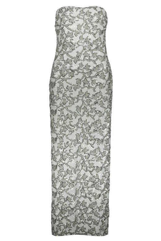 SILVER WHITE SEQUINS PENCIL DRESS - Argento