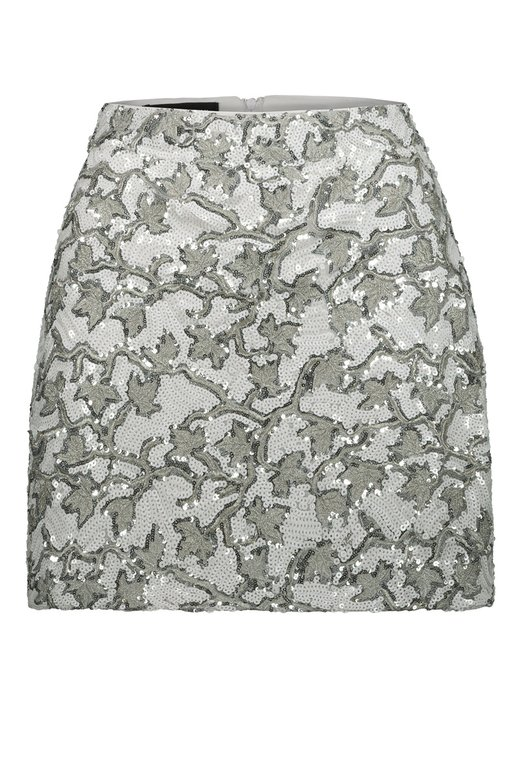 SILVER WHITE SEQUINS MINI SKIRT