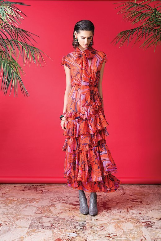 SILK LONG DRESS WITH RUFFLES AND FLORAL - Fuxia Red