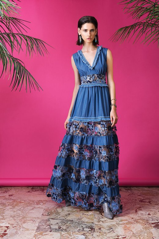 LONG DRESS IN DENIM AND TOULLE WITH APPLIQUE FLOWERS