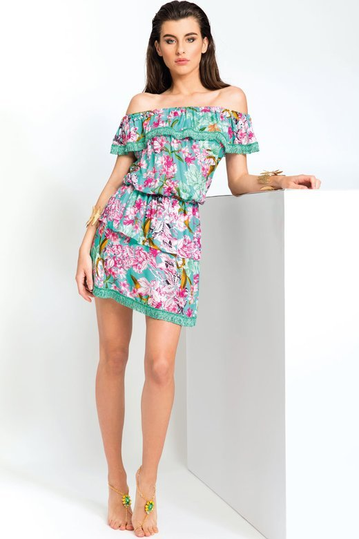 LUXE  PRINTED SHORT DRESS WITH FRILLS AND FRINGED TRIMMING