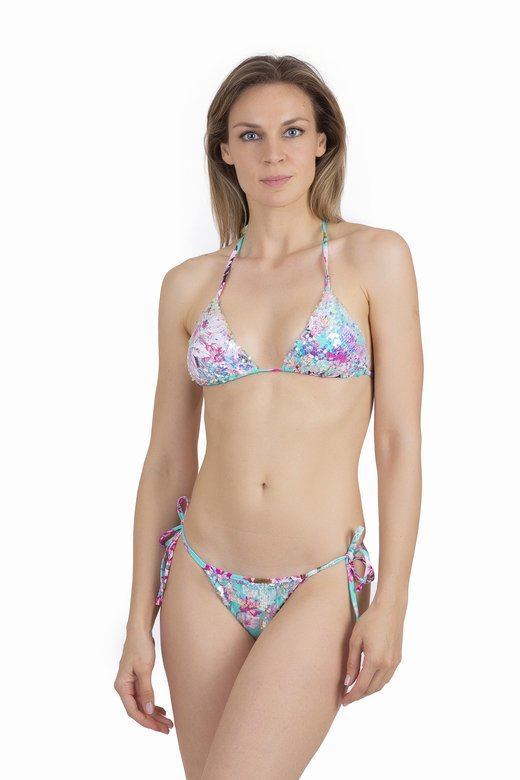 FLOWER PRINT TRIANGLE BIKINI WITH PAILLETTES