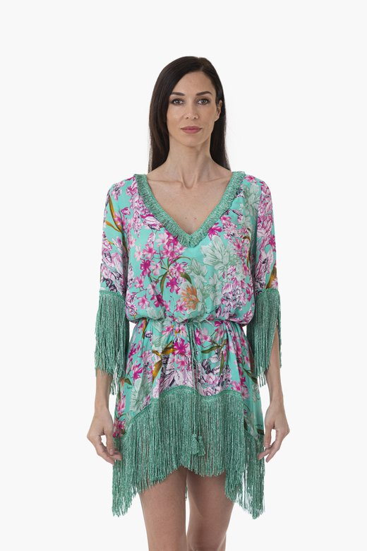 LUXE SHORT KAFTAN WITH THREE QUARTERS SLEEVES AND FRINGES