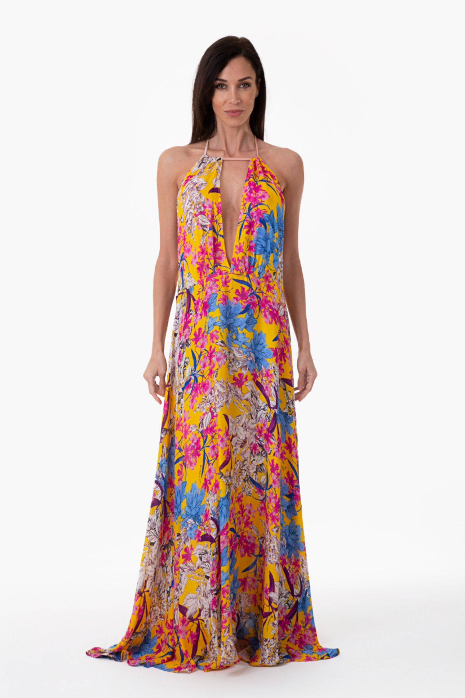 LUXE PRINTED LONG DRESS - Fiori Giallo