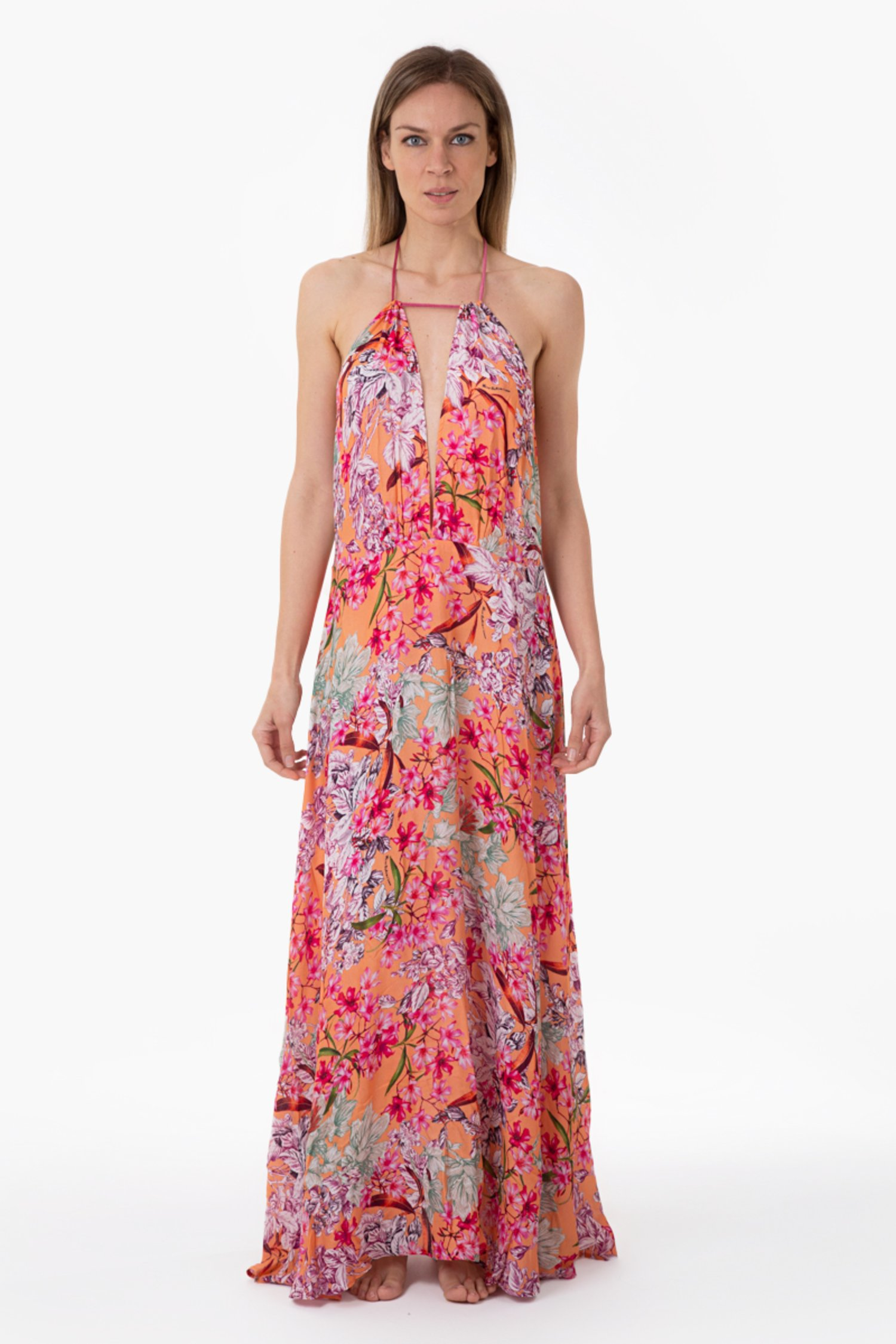 LUXE PRINTED LONG DRESS - Fiori Pesco