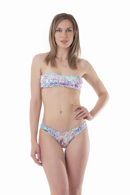 BANDEAU BIKINI WITH SHIMMERING SEQUINS FLOWER PRINT