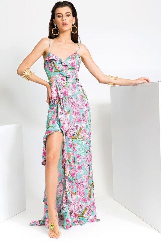 PRINT FLOWERS LONG DRESS IN SATIN